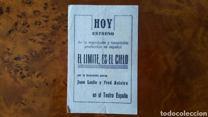 Cine: Programa de mano. Cine. EL LÍMITE ES EL CIELO (Original) 1943. - Foto 2 - 151591390