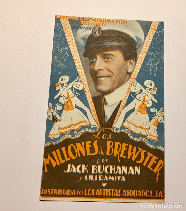 PROGRAMA DE CINE. LOS MILLONES DE BREWSTER CON JACK BUCHANAN AÑOS 30. CON PUBLICIDAD TOLEDO (Cine - Folletos de Mano - Musicales)