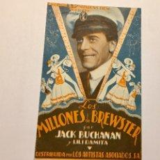 Cine: LOS MILLONES DE BREWSTER CON JACK BUCHANAN AÑOS 30. CON PUBLICIDAD. Lote 151661133