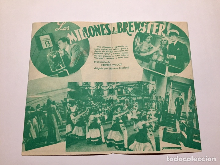 Cine: Programa de cine. Los Millones de Brewster con Jack Buchanan años 30. Con publicidad Toledo - Foto 2 - 151661133