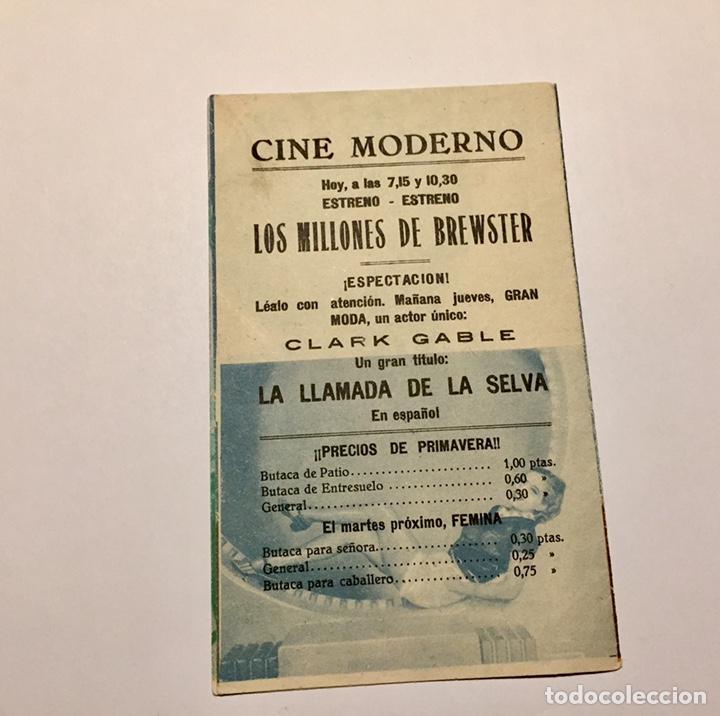 Cine: Programa de cine. Los Millones de Brewster con Jack Buchanan años 30. Con publicidad Toledo - Foto 3 - 151661133