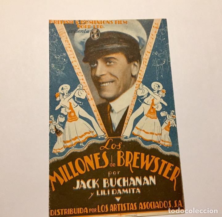 Cine: Programa de cine. Los Millones de Brewster con Jack Buchanan años 30. Con publicidad Toledo - Foto 4 - 151661133