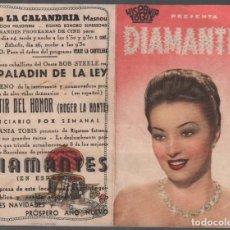 Cine: DIAMANTES - PROGRAMA DOBLE DE TOBIS CON PUBLICIDAD , RF-734. Lote 151678478