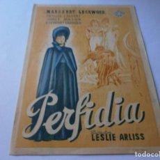 Cine: PROGRAMA DE CINE - PERFIDIA - MARGARET LOCKWOOD, JAMES MASON - CINE GOYA (GRANADA) - 1943.. Lote 151698942