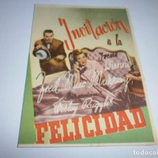 Cine: PROGRAMA DOBLE - INVITACIÓN A LA FELICIDAD - IRENE DUNNE, FRED MAC MURRAY - CINE GOYA (GRANADA) 1939. Lote 151704294