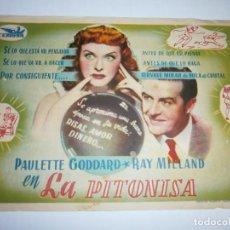 Cine: PROGRAMA DE CINE - LA PITONISA - PAULETTE GODDARD, RAY MILLAND - CINE ECHEGARAY (MÁLAGA) - 1943.. Lote 151711026