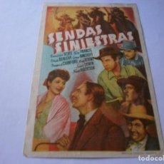 Cine: PROGRAMA DE CINE - SENDAS SINIESTRAS - RANDOLPH SCOTT, KAY FRANCIS - CINE AVENIDA (VALENCIA) - 1946.. Lote 151717502
