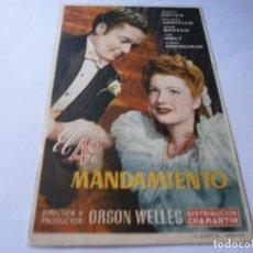 Cine: PROGRAMA DE CINE - EL 4º MANDAMIENTO - JOSEPH COTTEN, ANNE BAXTER - ALIATAR CINEMA (GRANADA) - 1945.. Lote 151720918