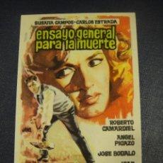 Cine: ENSAYO GENERAL PARA LA MUERTE - SIN PUBLICIDAD. Lote 151721710