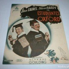 Cine: PROGRAMA DOBLE - ESTUDIANTES EN OXFORD - STAN LAUREL Y OLIVER HARDY - ALIATAR CINEMA (GRANADA) 1939. Lote 151722206