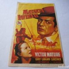 Cine: PROGRAMA DE CINE - MATANZA INFERNAL - VICTOR MATURE, COLEEN GRAY - CINE GRANADA (GRANADA) - 1948.. Lote 151728898
