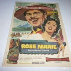 Cine: PROGRAMA DE CINE - ROSE MARIE - ANN BLUTH, HOWARD KEEL - CINE GRANADA (GRANADA) - 1954.. Lote 151731674
