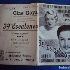 Cine: (PG-190386) 39 ESCALONES - CINE GOYA. Lote 151845550