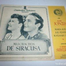 Cine: PROGRAMA DOBLE - MUCHACHOS DE SIRACUSA - ALLAN JONES, MARTA RAYE - MÁLAGA CINEMA (MÁLAGA) - 1940.. Lote 151865122