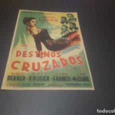Cine: PROGRAMA DE MANO ORIG - DESTINOS CRUZADOS - CINE MODERNO. Lote 152031594