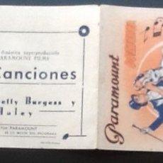 Cine: BAILES Y CANCIONES, DOBLE PARAMOUNT AÑOS 30. Lote 152222598