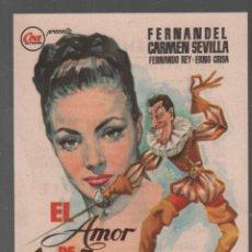 Cine: EL AMOR DE DON JUAN - CARMEN SEVILLA . PROGRAMA SENCILLO DE CEA CON PUBLICIDAD, RF-968,3. Lote 152257686