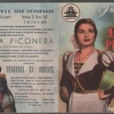 Flyers Publicitaires de films Anciens: LOLA LA PICONERA / PROGRAMA DOBLE DE CIFESA CON PUBLICIDAD AL DORSO, RF-1010 , BUEN ESTADO. Lote 152267218