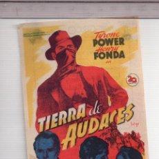 Cine: FOLLETO DE MANO DE TIERRA DE AUDACES CON TYRONE POWER PUBLICIDAD TEATRO CIRCO VILLAR . Lote 152274282