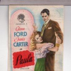 Cine: FOLLETO DE MANO DE PAULA CON GLENN FORD PUBLICIDAD CINE VALIRA SEO DE URGEL 1949. Lote 152302026