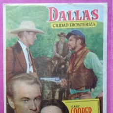 Cine: DALLAS CIUDAD FRONTERIZA- GARY COOPER - FOLLETO DE MANO - CINEMA SALAMANCA DE DE SALAMANCA - CON INF. Lote 152372222