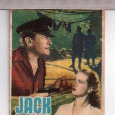Cine: FOLLETO DE JACK EL NEGRO CON GEORGE SANDERS PUBLICIDAD CINE MONTERROSA REUS. Lote 152403282
