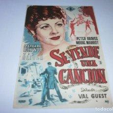 Cine: PROGRAMA DE CINE - SE VENDE UNA CANCIÓN - MARGARET LOCKWOOD, VIC OLIVER - 1945 - SIN PUBLICIDAD.. Lote 152420002