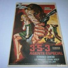 Cine: PROGRAMA DE CINE - 3-S-3 AGENTE ESPECIAL - GEORGE ARDISSON - 1966 - SIN PUBLICIDAD.. Lote 152423134