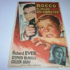 Cine: PROGRAMA DE CINE - ROCCO, EL HIJO DE DEL GÁNGSTER - RICHARD EYER - 1955 - SIN PUBLICIDAD.. Lote 152445782