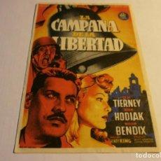 Cine: PROGRAMA DE CINE - LA CAMPANA DE LA LIBERTAD - GENE TIERNEY, JOHN HODIAK - COLISEO OLYMPIA - 1947.. Lote 152474538