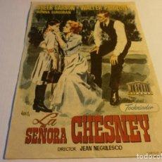 Cine: PROGRAMA DE CINE - LA SEÑORA CHESNEY - GREER GARSON, WALTER PIDGEON - TEATRO ISABEL LA CATÓLICA 1953. Lote 152503226