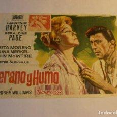 Cine: PROGRAMA DE CINE - VERANO Y HUMO - LAURENCE HARVEY, GERALDINE PAGE - ALBÉNIZ (MÁLAGA) - 1961.. Lote 152515746