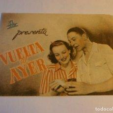 Cine: PROGRAMA DOBLE - VUELTA AL AYER - CLIVE BROOK, ANNA LEE - COLISEO OLYMPIA - 1944.. Lote 152524642
