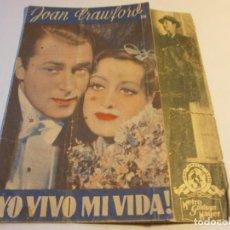 Flyers Publicitaires de films Anciens: PROGRAMA DOBLE - ¡ YO VIVO MI VIDA ! - JOAN CRAWFORD - MGM - CENTRAL C.N.T. - 1935.. Lote 152525662