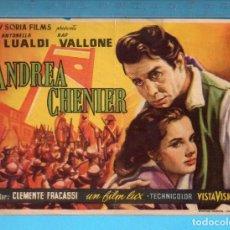 Cine: FOLLETO DE MANO DE ANDREA CHENIER CON ANTONELLA LUALDI PUBLICIDAD CINE PALAFOX. Lote 152596206