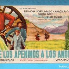 Cine: FOLLETO DE MANO DE DE LOS APENINOS A LOS ANDES CON ELEONORA ROSSI PUBLICIDAD CINE AVENIDA REUS. Lote 152596214