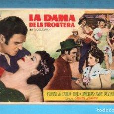 Cine: FOLLETO DE MANO DE DE LA DAMA DE LA FRONTERA CON YVONNE DE CARLO PUBLICIDAD CINE PICAROL. Lote 152596238