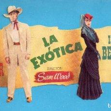 Cine: FOLLETO DE MANO DE TROQUELADO LA EXÓTICA CON GARY COOPER SIN PUBLICIDAD . Lote 152596254