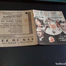 Cine: PROGRAMA DE MANO ORIG DOBLE - EL CASO VARE - CINE DE MONTBLANCH. Lote 152611990