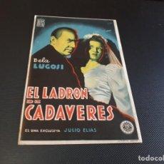 Cine: PROGRAMA DE MANO ORIG - EL LADRÓN DE CADAVERES - CINE DE SAN BAUDILIO. Lote 152612890