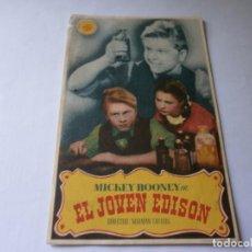 Cine: PROGRAMA DE CINE - EL JOVEN EDISON - MICKEY ROONEY - MGM - PRINCIPAL CINEMA (MÁLAGA) - 1940.. Lote 152624338