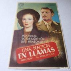 Cine: PROGRAMA DE CINE - UNA NACIÓN EN LLAMAS - INGA TID'LAD, VICTOR SJÖSTRÖM - 1943 - SIN PUBLICIDAD.. Lote 152806314