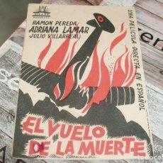 Cine: EL VUELO DE LA MUERTE SIN PUBLICIDAD-CARTULINA RENAU 1936. Lote 152865018