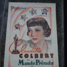 Cine: MUNDOS PRIVADOS 1935 CLAUDETTE COLBERT CHARLES BOYER, JOAN BENNET DOBLE PARAMOUNT CON PUBLICIDAD. Lote 152906126