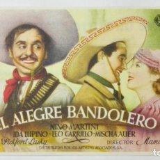 Cine: PROGRAMA DE CINE, EL ALEGRE BANDOLERO, AÑOS 50, PUBLICIDAD CINE URQUIJO. Lote 153049754