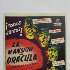 Cine: PROGRAMA DE CINE, LA MANSION DE DRACULA, AÑOS 50, PUBLICIDAD IDEAL CINEMA, VILLAROBLEDO. Lote 153080382