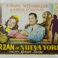 Cine: PROGRAMA DE CINE, TARZAN EN NUEVA YORK, AÑOS 50, PUBLICIDAD IDEAL CINEMA, VILLAROBLEDO. Lote 153080858