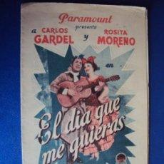 Flyers Publicitaires de films Anciens: (PG-190426) EL DIA QUE ME QUIERAS - CINEMA ATLANTIDA. Lote 153224446