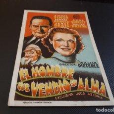 Cine: PROGRAMA DE MANO ORIG - EL HOMBRE QUE VENDIO SU ALMA - CINE IDEAL. Lote 153546046