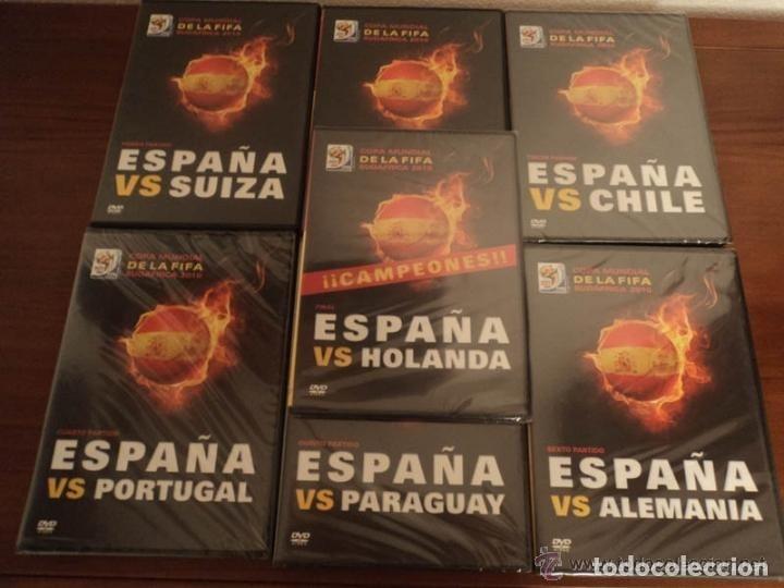 LOTE COMPLETO 7 DVD MUNDIAL SUDAFRICA 2010 - PARTIDOS DE ESPAÑA - FÚTBOL (Cine - Folletos de Mano - Deportes)
